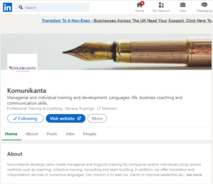 image of the LinkedIn Company page for Komunikanta